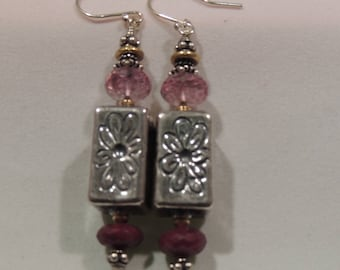 Sterling Sliver, Ruby & Garnet Earrings w/SS Earwires