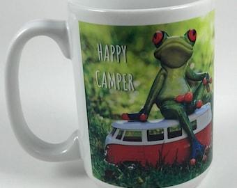 Happy Camper Frog Mug - 15 oz. - Camping - Cabin - Campfire - Up North - Lake Life - Gone Fishing - Boating - Fishing - Camper - VW Van