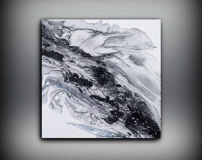 Large painting PRINT, giclee print of acrylic painting abstract art, Black and White wall art Christmas Gift Small Painting on Canvas