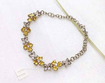 Natural Citrine & 925 Silver Bracelet, Untreated Citrine In Sterling Silver Setting Bracelet, November Birthstone Silver Bracelet