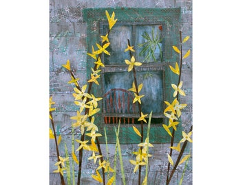 """Forsythia. 5"""" x 7"""" Blank Greeting Cards (Set of 6). Print of Original Layered Paper Collage. Stationery Art Card. Print-to-Order."""