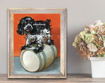 Girl's Room Art, Boy's Room Art, Family Room Art,  Butch the Dog Art Print, Restored Antique Art FREE SHIPPING  #336
