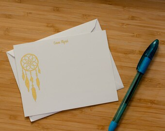Dreamcatcher personalized gold foil press stationery set of 10 with envelopes