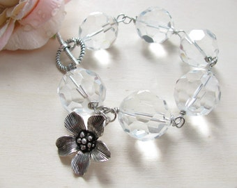 Charm Bracelet,  Flower Bracelet,   Bridal bracelet, Crystal bracelet, Romantic bracelet, Bridal jewlery, Dainty bracelet, Romantic jewelry