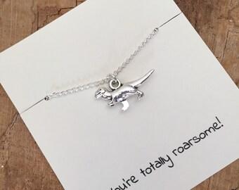 Dinosaur necklace, dinosaur gift, T-Rex necklace, T-Rex jewelry, silver dinosaur, birthday gift, gift for friend, best friend, dino necklace