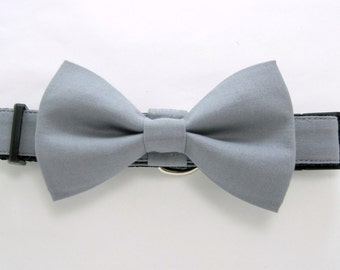 Wedding dog collar- Gray dog collar with bow tie set  (Mini,X-Small,Small,Medium ,Large or X-Large Size)- Adjustable