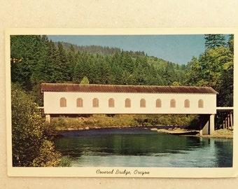 Vintage OR Postcard Covered Bridge Oregon