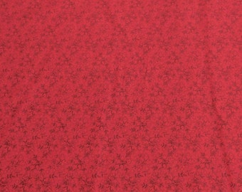 Red Leaves on Red Cotton Fabric