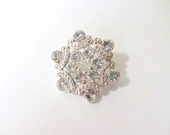Small Rhinestone Brooch Pin Silver Clear Rhinestone Scarf Pin Sash Pin Brooch Bouquet Vintage Silver Crystal Brooch Pin Jewelry