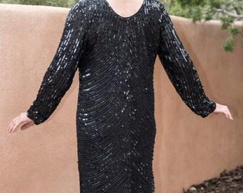 Black Sequin Long Sleeve Dress Floral Beaded Accent Calf Length Vintage