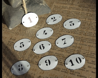 10 labels oval metal with print number 2 holes 3 x 2.5 cm
