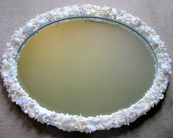Coastal Decor Seashell Mirror, Nautical Decor Beach Decor Seashell Mirror, Seashell Wall Mirror, White Shell Mirror, Beach Home Decor