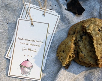 8 Cupcake From the Kitchen Customized Tags, Baker Sweets, Recycled Paper, Set of 8, Large Personalized Custom Tags