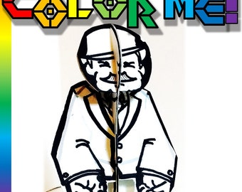 Color and Make Grandpa Man Paper Toy - Printable Toy