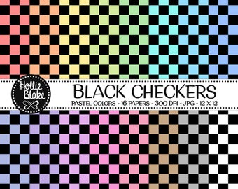 50% off SALE!! 16 Black Checkers Digital Paper • Rainbow Digital Paper • Commercial Use • Instant Download • #CHECKERS-101-BP