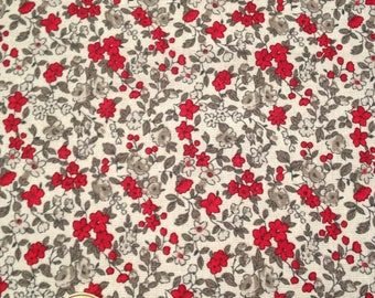 coupon fabric patchwork 50 X 50 cm / red flowers