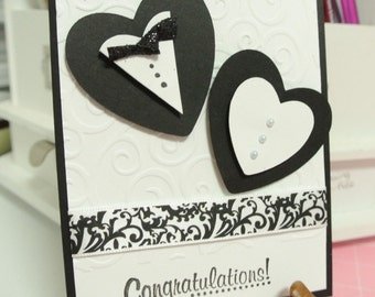 Bride and groom hearts wedding greeting card