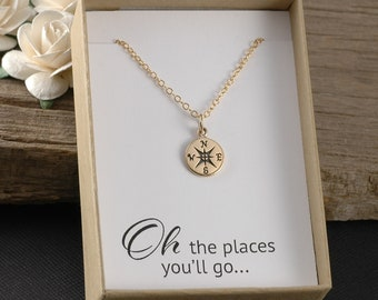 Compass necklace, graduation gift, gold or silver compass necklace - gold-filled chain, oh the places you'll go, gift boxed card