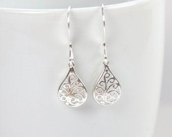 Tiny Sterling Silver Filigree Teardrop Earrings, Filigree Sterling Silver Earrings, Small Drop Earrings, Small Silver Earrings [#905]