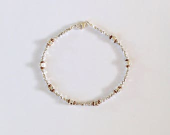 Womens Silver Beaded Anklet 10 3/4 Inches
