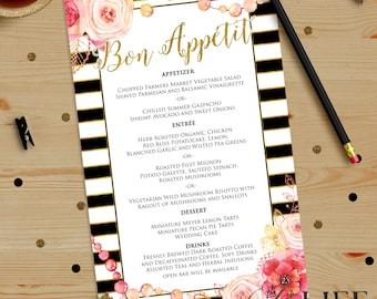 Floral and Gold Striped Bridal Shower Menu Printable DIY No. I267