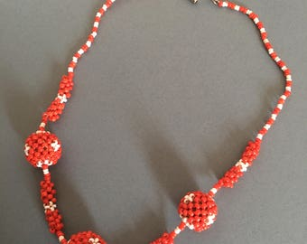 Art Deco Vintage Necklace Seed Beads with Ball Beads