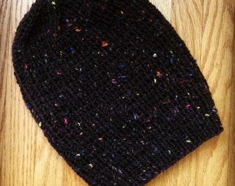 Handknit Slouchy Hat, Charcoal + Rainbow Tweed