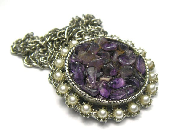 Vintage Amethyst Chip Necklace by Exquisite
