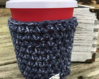 Crochet Coffee Sleeve, Crochet Coffee cup Cozy, Teacher gift, Cup Sleeve, Denim effect to go  cup cozy for hot and cold drinks, coffee lover