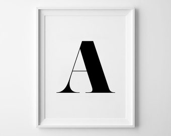 A Letter Print, Alphabet Prints, Capital Letter, Typography Wall Art, Black and White, Scandinavian House, Minimalist Style