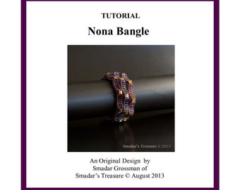 Beading Tutorial, Nona Bangle, 2 in 1 Roll On Bracelet. Tila and Bugle Beads Geometric Pattern. Beadweaving Instructions. Instant Download