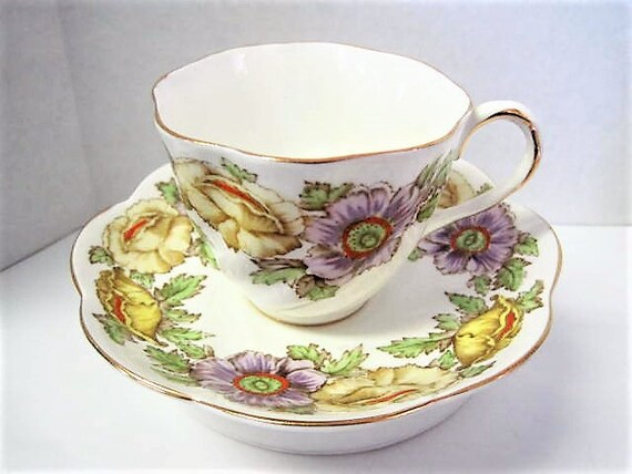 Salisbury Cup and Saucer, Iceland Poppy, Fine Bone China England, Vintage Floral