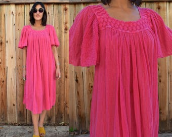 Vintage 80s Pink GAUZY COTTON Tent Dress with Flutter Sleeves M L