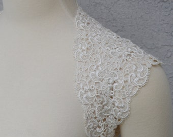 Beautiful Wedding Bridal Ivory Venice Lace Keyhole Back Open Back Backless Bolero Shrug Jacket. Made to order.