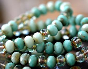 Water Dew - Premium Czech Glass Beads, Transparent Aqua, Opaque Turquoise Green Mix, Picasso Finish, Firepolish, Rondelles 7x5mm - Pc 15
