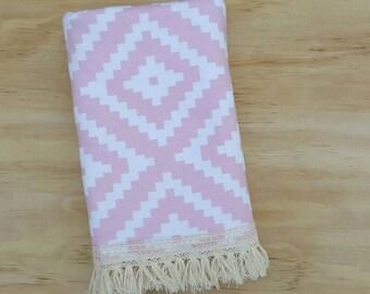 Rose Quartz Aztec Fringe Blanket