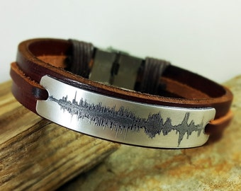 FAST SHIPPING /  Laser Engraving / Sound Wave Bracelet / Personalized Bracelet / Special day gift  / Custom Bracelet / Gold brass Plate /