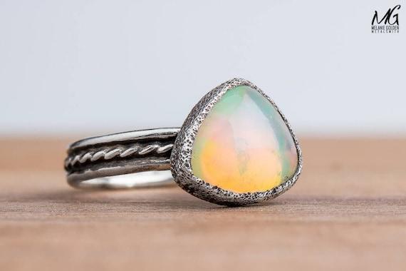 Ethiopian Opal Gemstone Ring in Sterling Silver - Size 5