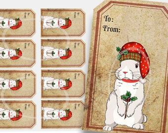 Christmas Gift Tag, Bunny Gift Tag, Instant Download, Printable gift tags, Holiday Rabbit tag, white rabbit tag, red hat, to from gift tags,
