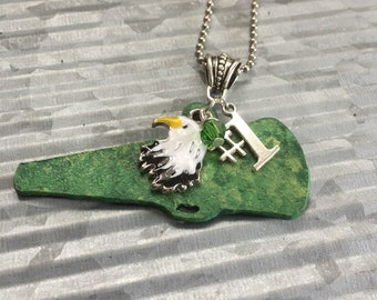 Eagles Green Megaphone Pendant, Fangirl Gear, Sports Mom, Cheerleader Necklace, NFL, College, Football, High School Team
