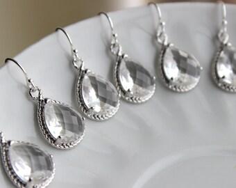 15% OFF SET OF 5 Crystal Earrings Silver Teardrop Clear Crystal Bridal Jewelry - Crystal Bridesmaid Jewelry Set - Crystal Wedding Jewelry
