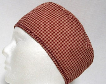 Mens or Womens Scrub Hat or Surgical Cap Cranberry and Tan Plaid