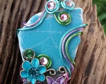 Sea Glass Necklace … floral fun