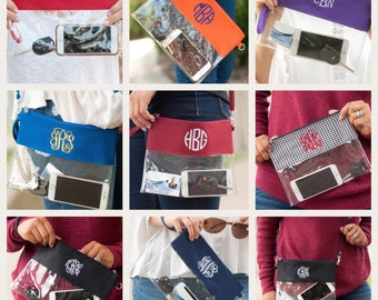 Game Day zip pouch, monogram clear pouch, clear wristlet, clear purse, monogram clear stadium bag, ID case, game day bag, stadium bag