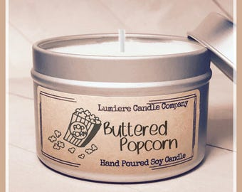 POPCORN scented Soy Candle Tin, Scented Soy Candles, Hand Poured Soy Candles, Soy Candles Handmade, Candle, Lumiere Candle Company