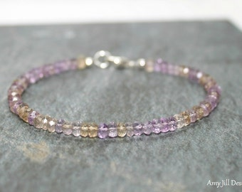 Ametrine Bracelet, Ametrine Jewelry, Multi Color, , Minimalist, Layering, Ombre, Gemstone Jewelry