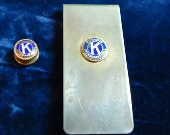 Vintage Kiwanis International Money Clip and Lapel Pin, Vintage Kiwanis, Vintage Money Clip, Vintage Lapel Pin