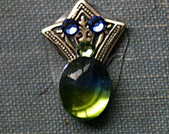 Blue Green Art Deco Fan Bindi - Facial Jewelry, Reuseable, ATS, Tribal Fusion, Belly Dance