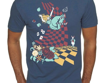 Alice in Wonderland T-shirt, Down the Rabbit Hole T-shirt, Unisex graphic tee, Gift for him or her, Art T-shirt, Cool t-shirt