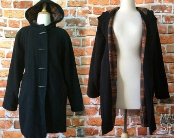 Vintage Wool Duffle Coat With Hood and Tartan Lining Black Size 12